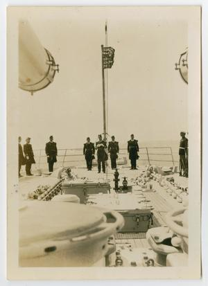 Primary view of object titled '[Photograph of Naval Officers Aboard the U.S.S. Texas]'.