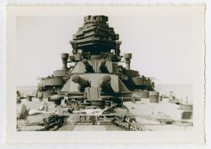 Primary view of object titled '[Photograph of the Gun Turrets on the U.S.S. Texas]'.