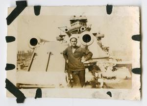 Primary view of object titled '[Photograph of V. Peruta on the U.S.S. Texas]'.