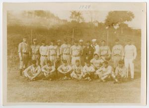 Primary view of object titled '[Photograph of the U.S.S. Baseball Team in 1928]'.