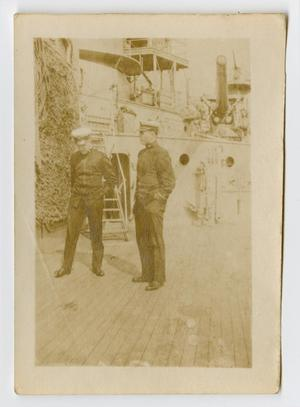Primary view of object titled '[Photograph of Two Navy Officers Talking]'.