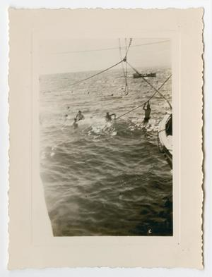 Primary view of object titled '[Photograph of Sailors Swimming in the Ocean]'.