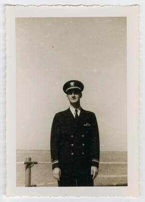 Primary view of object titled '[Photograph of a Naval Officer on Board the U.S.S. Texas]'.