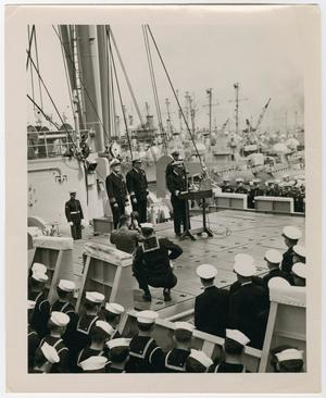 Primary view of object titled '[Photograph of a Naval Change in Command Ceremony]'.