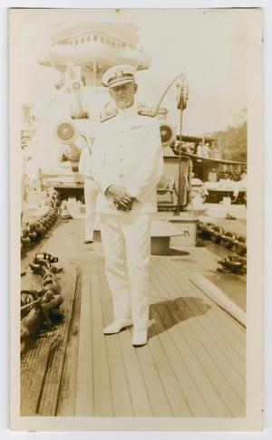Primary view of object titled '[Photograph of Admiral Wiley on a Ship]'.