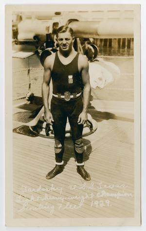 Primary view of object titled '[Photograph of U.S.S. Texas Boxer Tardosky]'.
