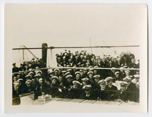 Primary view of object titled '[Naval Officers Ringside for a Boxing Match]'.