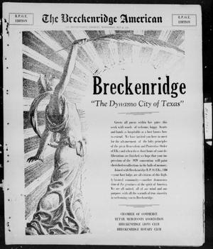 Primary view of object titled 'The Breckenridge American (Breckenridge, Tex.), Vol. 9, No. 171, Ed. 2, Wednesday, May 22, 1929'.