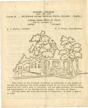 Primary view of object titled '[Sherman Street Church of Christ Bulletin]'.