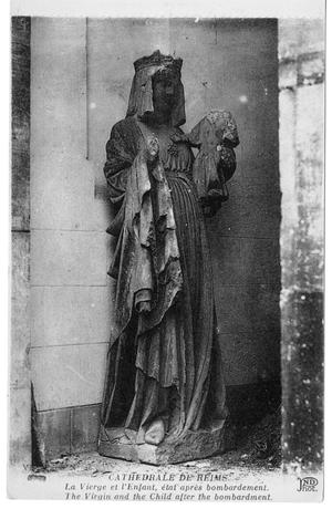 Primary view of [Postcard of Damaged Virgin Statue at Reims Cathedral]