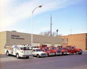 Primary view of object titled '[Hereford Fire Department's Vehicles in 1971]'.