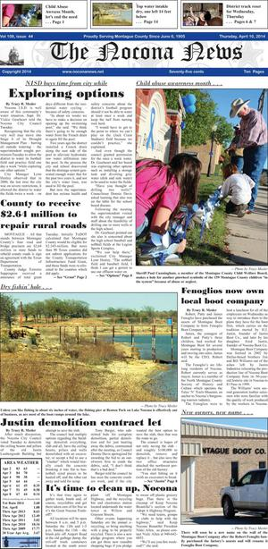 Primary view of object titled 'The Nocona News (Nocona, Tex.), Vol. 109, No. 43, Ed. 1 Thursday, April 10, 2014'.