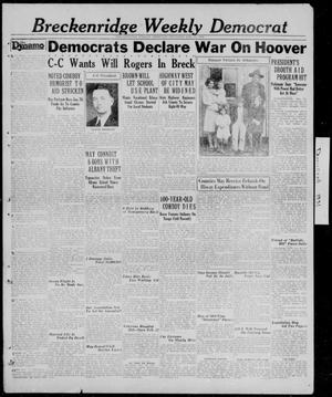 Primary view of object titled 'Breckenridge Weekly Democrat (Breckenridge, Tex.), Ed. 1, Thursday, January 15, 1931'.