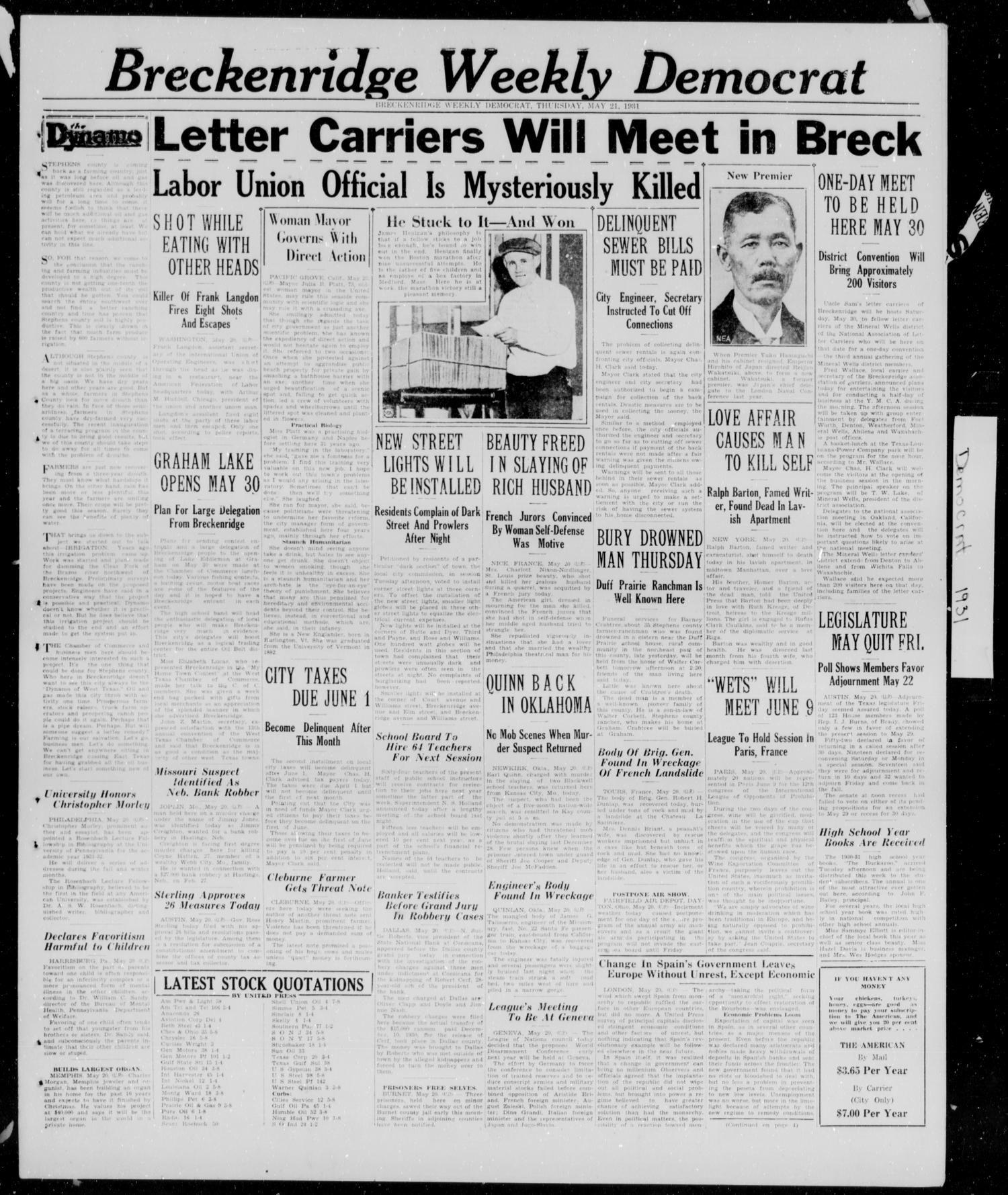 Breckenridge Weekly Democrat (Breckenridge, Tex.), Ed. 1, Thursday, May 21, 1931                                                                                                      [Sequence #]: 1 of 4