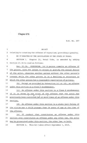 Primary view of object titled '84th Texas Legislature, Regular Session, House Bill 207, Chapter 676'.