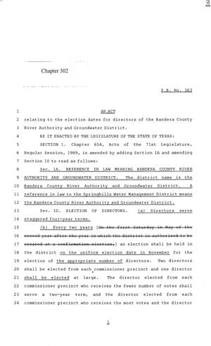 Primary view of object titled '84th Texas Legislature, Regular Session, Senate Bill 363, Chapter 302'.