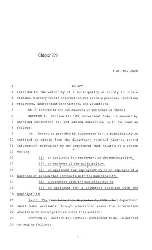 Primary view of object titled '84th Texas Legislature, Regular Session, House Bill 2828, Chapter 799'.