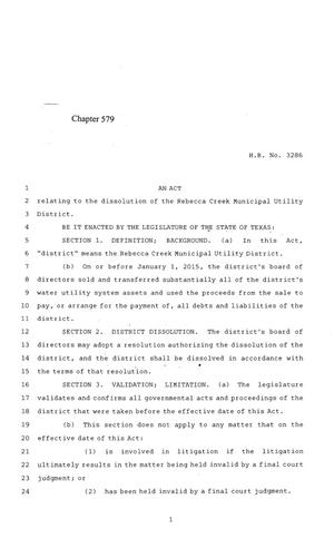 Primary view of object titled '84th Texas Legislature, Regular Session, House Bill 3286, Chapter 579'.