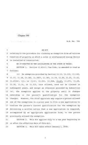 Primary view of object titled '84th Texas Legislature, Regular Session, House Bill 706, Chapter 390'.
