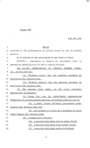 Primary view of object titled '84th Texas Legislature, Regular Session, Senate Bill 512, Chapter 602'.