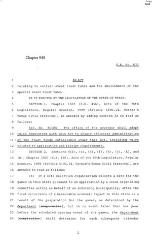 Primary view of object titled '84th Texas Legislature, Regular Session, Senate Bill 633, Chapter 948'.