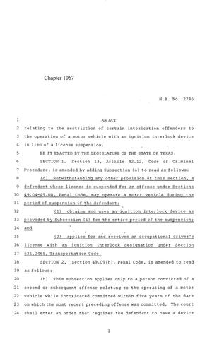 Primary view of 84th Texas Legislature, Regular Session, House Bill 2246, Chapter 1067