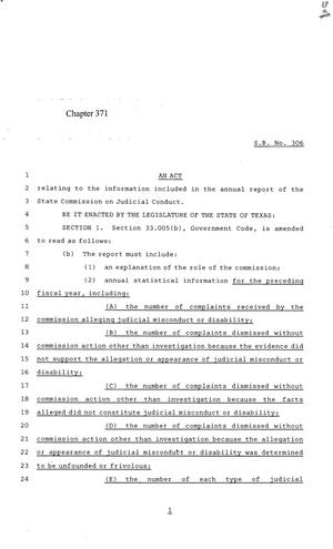Primary view of object titled '84th Texas Legislature, Regular Session, Senate Bill 306, Chapter 371'.