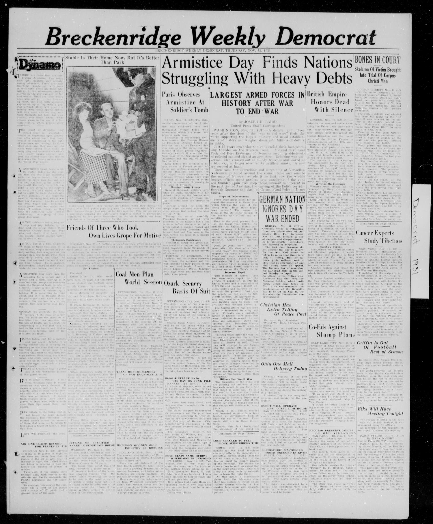 Breckenridge Weekly Democrat (Breckenridge, Tex.), Ed. 1, Thursday, November 12, 1931                                                                                                      [Sequence #]: 1 of 4