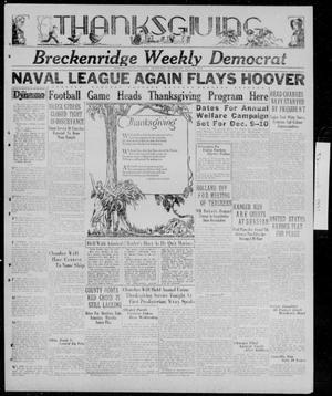 Primary view of object titled 'Breckenridge Weekly Democrat (Breckenridge, Tex.), Ed. 1, Thursday, November 26, 1931'.