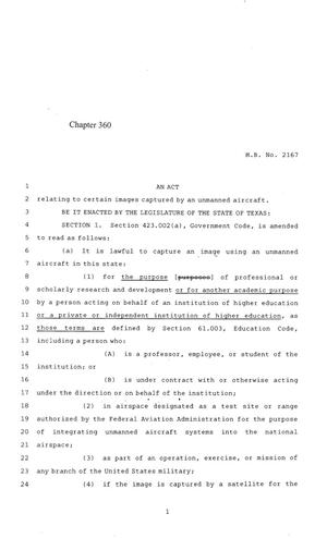Primary view of object titled '84th Texas Legislature, Regular Session, House Bill 2167, Chapter 360'.
