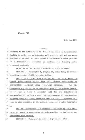 Primary view of object titled '84th Texas Legislature, Regular Session, House Bill 2230, Chapter 297'.