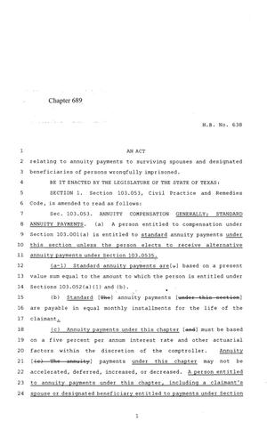 Primary view of object titled '84th Texas Legislature, Regular Session, House Bill 638, Chapter 689'.