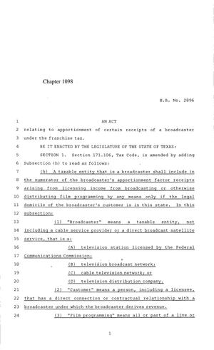 Primary view of object titled '84th Texas Legislature, Regular Session, House Bill 2896, Chapter 1098'.