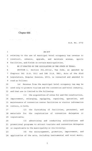 Primary view of object titled '84th Texas Legislature, Regular Session, House Bill 3772, Chapter 666'.