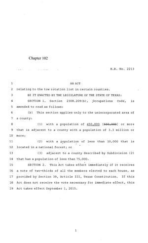 Primary view of object titled '84th Texas Legislature, Regular Session, House Bill 2213, Chapter 102'.