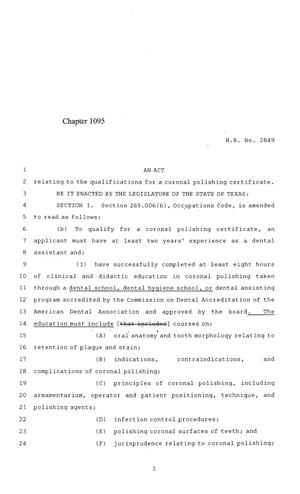 Primary view of object titled '84th Texas Legislature, Regular Session, House Bill 2849, Chapter 1095'.
