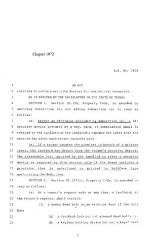 Primary view of object titled '84th Texas Legislature, Regular Session, House Bill 2404, Chapter 1072'.