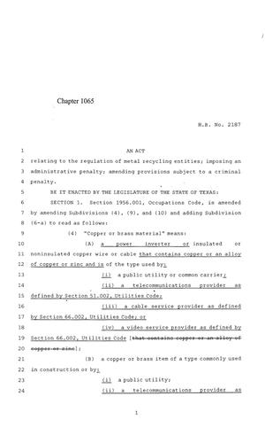 Primary view of object titled '84th Texas Legislature, Regular Session, House Bill 2187, Chapter 1065'.
