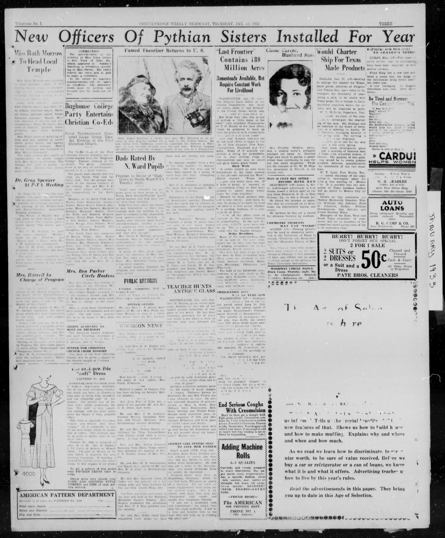 Breckenridge Weekly Democrat (Breckenridge, Tex.), Ed. 1, Thursday, January 19, 1933                                                                                                      [Sequence #]: 3 of 5