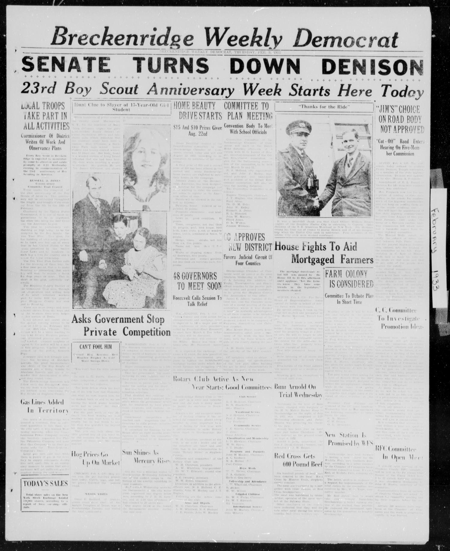 Breckenridge Weekly Democrat (Breckenridge, Tex.), Ed. 1, Thursday, February 9, 1933                                                                                                      [Sequence #]: 1 of 5