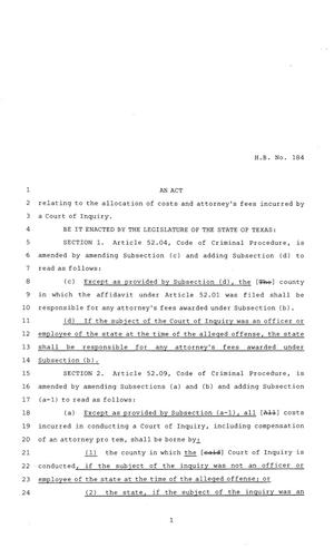 Primary view of object titled '84th Texas Legislature, Regular Session, House Bill 184'.