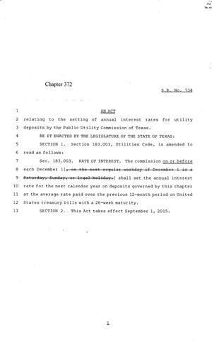 Primary view of object titled '84th Texas Legislature, Regular Session, Senate Bill 734, Chapter 372'.