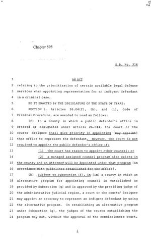 Primary view of object titled '84th Texas Legislature, Regular Session, Senate Bill 316, Chapter 595'.