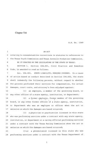 Primary view of object titled '84th Texas Legislature, Regular Session, House Bill 1549, Chapter 734'.
