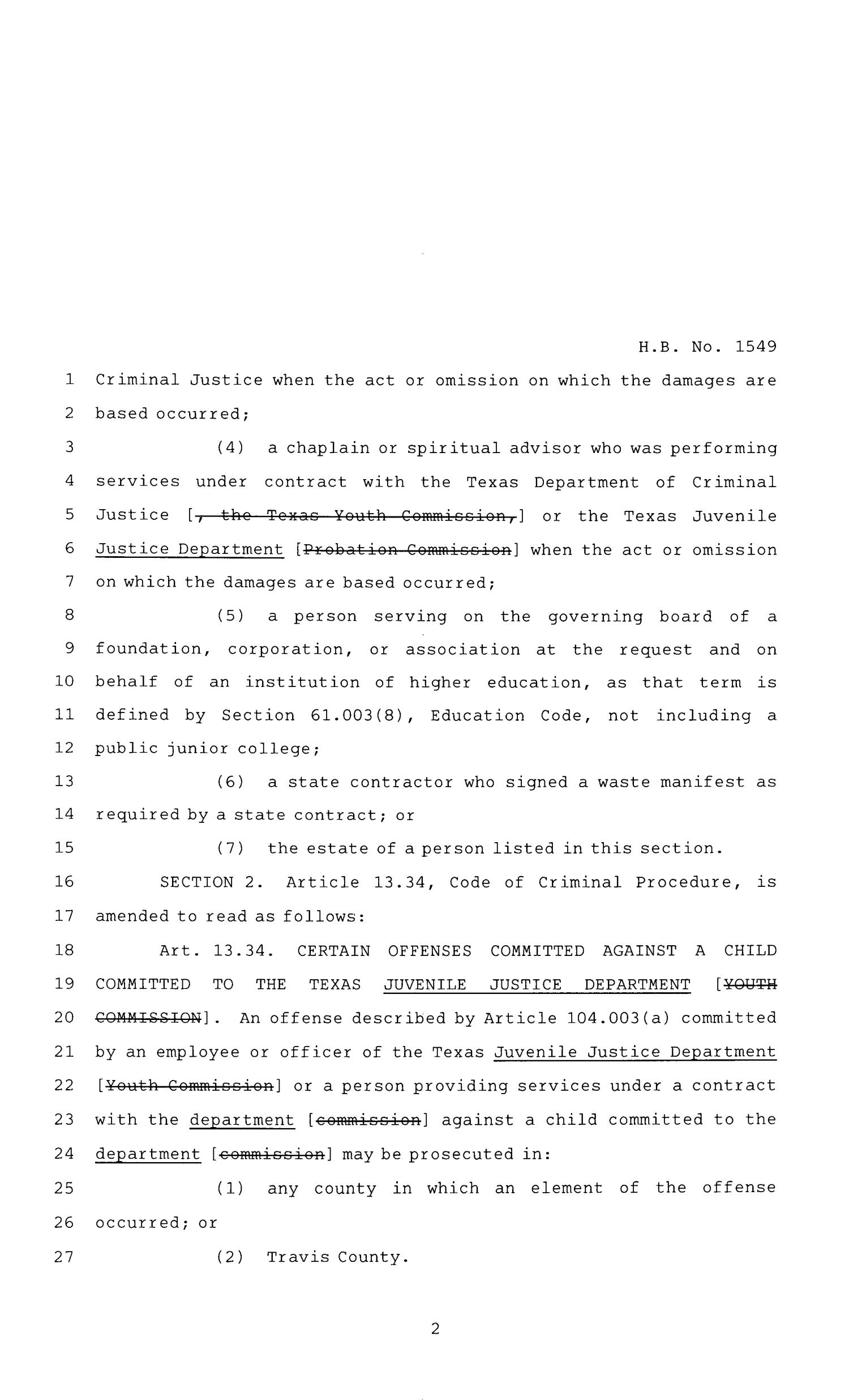 84th Texas Legislature, Regular Session, House Bill 1549, Chapter 734                                                                                                      [Sequence #]: 2 of 113