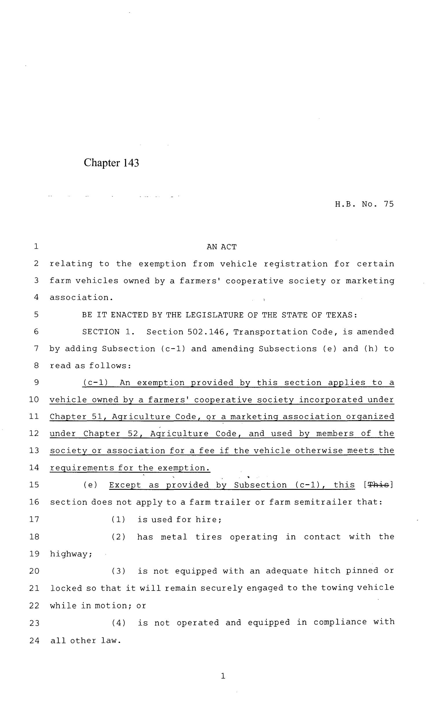 84th Texas Legislature, Regular Session, House Bill 75, Chapter 143                                                                                                      [Sequence #]: 1 of 5