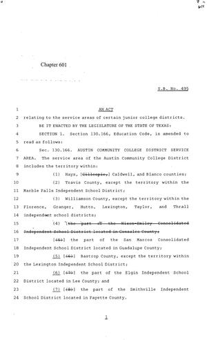 Primary view of object titled '84th Texas Legislature, Regular Session, Senate Bill 495, Chapter 601'.