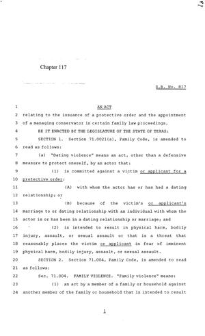 Primary view of 84th Texas Legislature, Regular Session, Senate Bill 817, Chapter 117