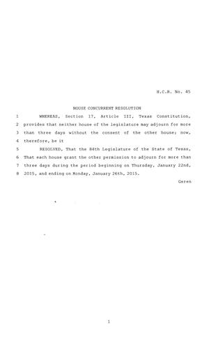 Primary view of object titled '84th Texas Legislature, Regular Session, House Concurrent Resolution 45'.