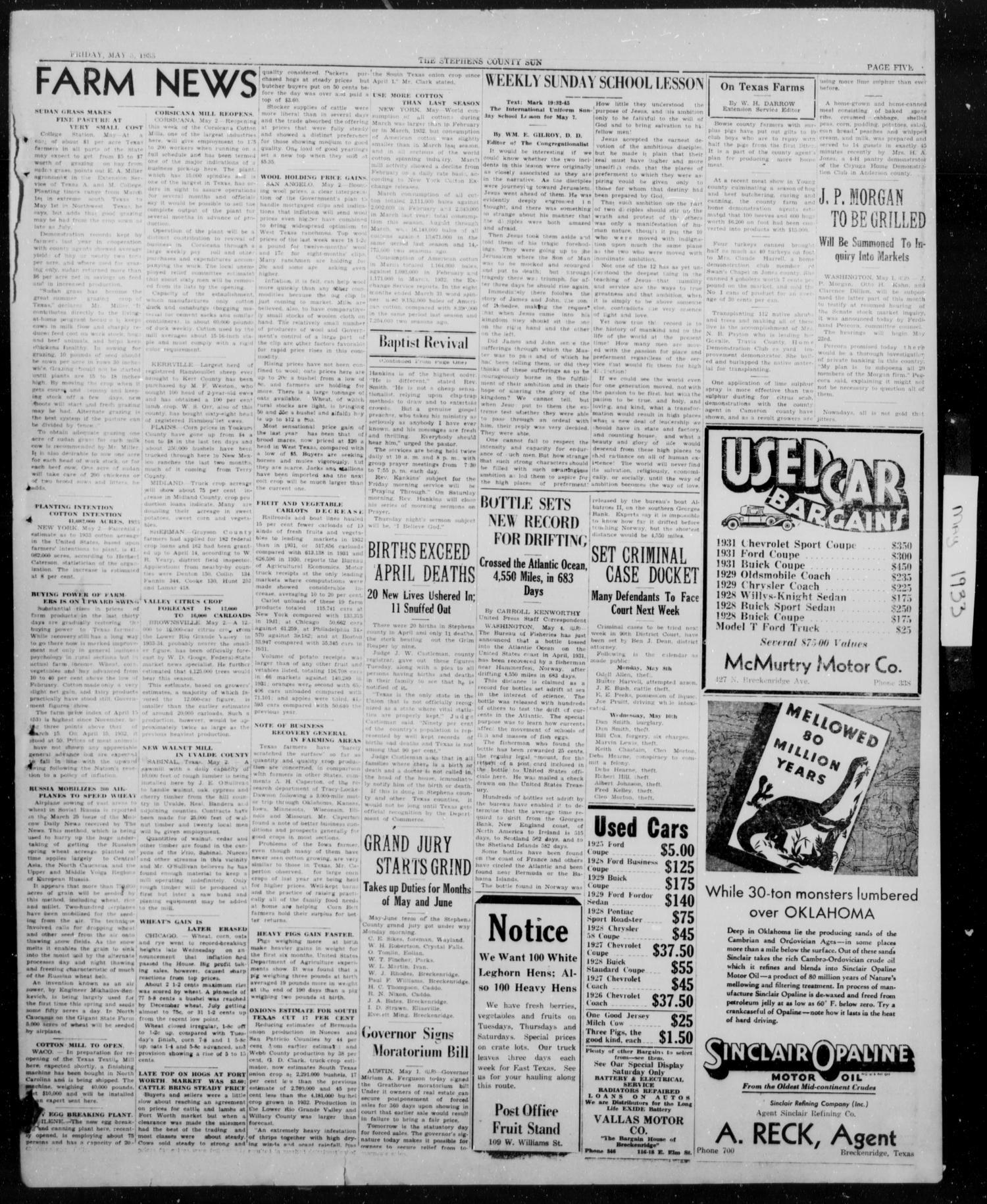 Stephens County Sun (Breckenridge, Tex ), Vol  4, No  15, Ed